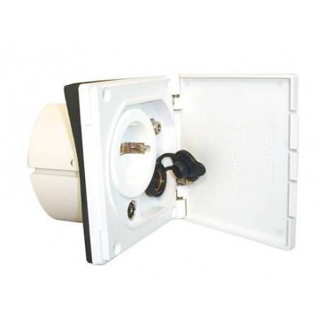 Boitier schuko blanc encastrable avec prises 12V/220V/TV/satellite