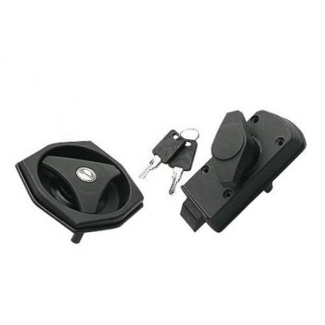 serrure de porte caravane type hexagonale bouton gauche coloris noir achat accessoires. Black Bedroom Furniture Sets. Home Design Ideas