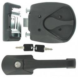 Serrure de porte camping car FAP M1 à poignée noire 235 x 60 mm